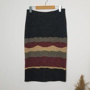 Luiza | Textured Pencil Skirt Abstract Colorblock